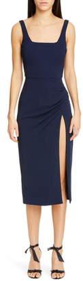 Cushnie Square Neck Side Slit Midi Dress