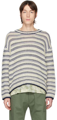 Loewe Off-White and Navy Wool Striped Sweater