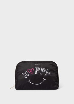 Women's 'Happy' Embroidered Make-Up Pouch