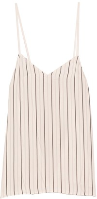 Tibi Anna Stripe Cami in Ivory/Black Multi