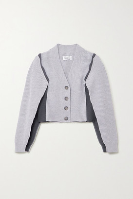 Maison Margiela Ombra Paneled Ribbed-knit Cardigan - Gray