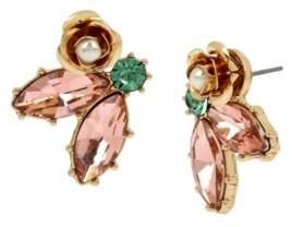Miriam Haskell New York Flower Stone Cluster Stud Earrings