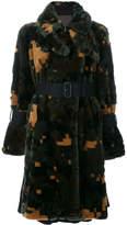 Sacai cross pixel faux fur coat
