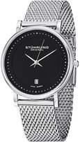Stuhrling Original Men's Men's Black & Stainless Steel Mesh Watch