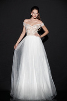 Tarik Ediz Off-Shoulder Tulle Gown 92501