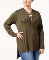 Melissa McCarthy Trendy Plus Size Lace-Up Top