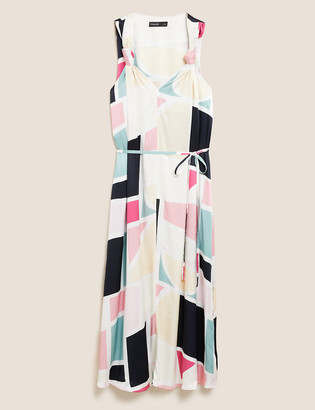 Marks and Spencer Abstract Print Midi Waisted Dress