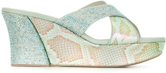 Rene Caovilla Embellished Python Print Sandals