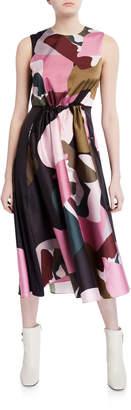 Ted Baker Block-Print Elasticized Waist Sleeveless Midi Dress