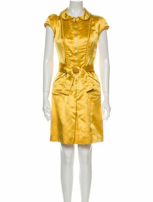 Louis Vuitton Silk Knee-Length Dress Yellow