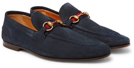 Gucci Horsebit Webbing-Trimmed Suede Loafers
