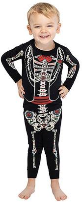 Intimo Boys' Sleep Bottoms Blcak - Black Skeleton Long-Sleeve Pajama Top & Bottoms - Toddler