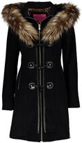 Betsey Johnson Black Faux Fur Hooded Wool Jacket