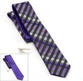 Apt. 9 Starfish Gingham Plaid & Solid Reversible Skinny Tie & Tie Bar Set - Men