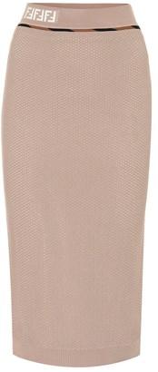 Fendi High-rise mesh skirt