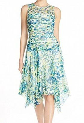 London Times Women's Mesh Sleeveless Printed Shuttered Bodice Dress