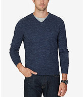Nautica Snow Cotton V-Neck Heathered Sweater
