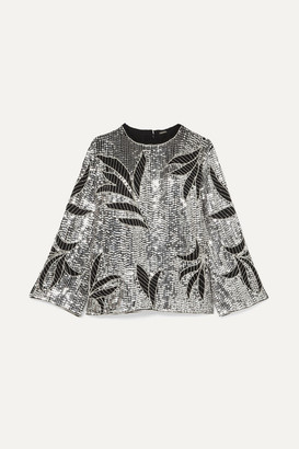 Dodo Bar Or Clara Embellished Sequined Tulle Top - Silver