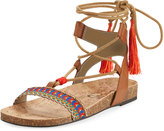 CIRCUS BY SAM EDELMAN Kerri Low Ankle-Wrap Sandal, Saddle