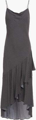 Alice + Olivia Ginger Asymmetric Ruffled Polka-dot Crepe Dress