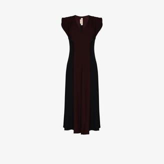 Marni Cap Sleeve Panelled Midi Dress