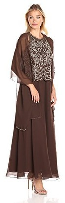J Kara Women's Sleeveless Scallop All Over Beaded Top Long Dress W/Scarf