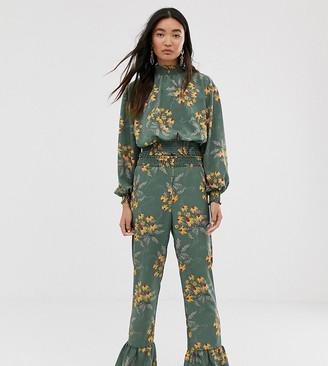 Monki floral print frill hem trousers in green