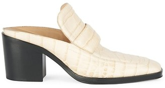 Bottega Veneta Croc-Embossed Leather Loafer Mules
