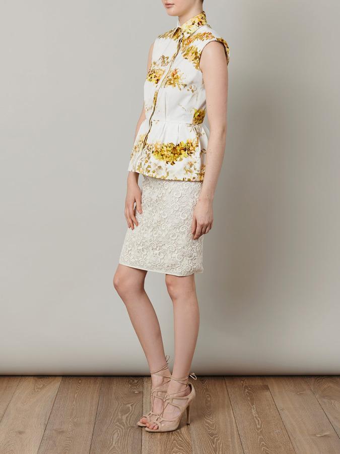 Giambattista Valli Garland-print peplum blouse