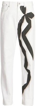 Dries Van Noten Straight-Leg Ribbon Detail Jeans