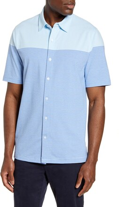 Cutter & Buck Classic Fit Stripe Short Sleeve Button-Up Sport Shirt