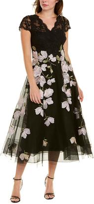 Teri Jon By Rickie Freeman Embroidered Midi Dress