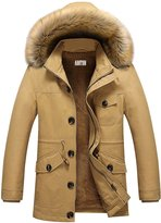 AooToo Mens Thicken Hooded Winter Coat(, S)