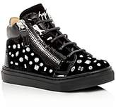 Giuseppe Zanotti Girls' Veronica Embellished Velvet High Top Sneakers - Walker, Toddler