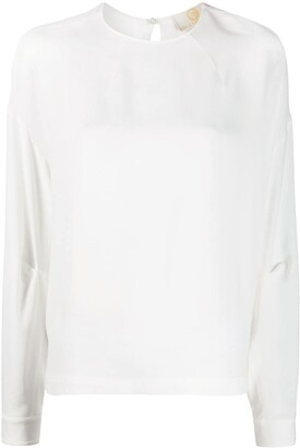Sara Battaglia Boxy Fit Curved Hem Blouse