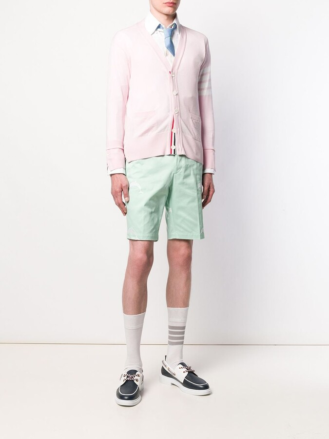 Thumbnail for your product : Thom Browne 4-Bar V-neck merino cardigan