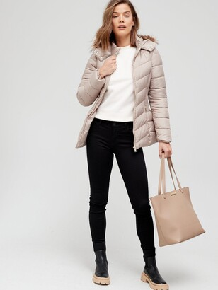 Very Short Padded Jacket With Faux Fur - Champagne