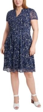 MSK Plus Size Printed Chiffon Shirtdress