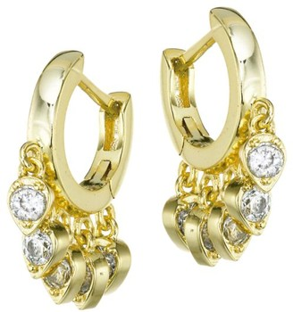 Jules Smith Designs 14K Goldplated & Pave Teardrop Charm Huggie Hoop Earrings