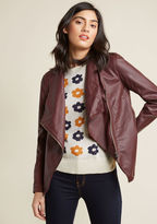 MCBH302351 Stepping into the the jazz club wearing this moto jacket by BB Dakota, you claim a seat and request a cocktail. Pulling down the asymmetrical zipper of this faux-leather layer, you reveal its chic lapels before employing a knit-paneled sleeve to stow your