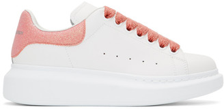 Alexander McQueen White and Pink Sparkle Oversized Sneakers