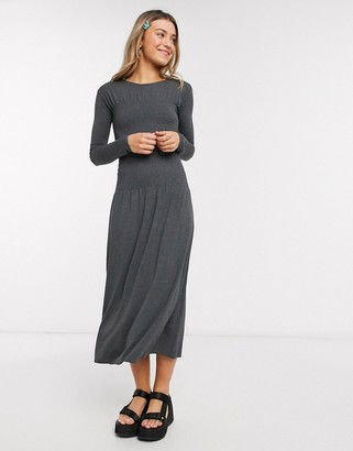 Monki Greta ruched waist long sleeve midi dress in grey