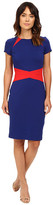 NUE by Shani Color Blocking Knit Dress with Insets At Neckline and Waist