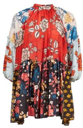 Biyan Soffi Raglan-sleeve Floral-print Silk Blouse - Red Multi