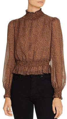 Lucy Paris Puff-Sleeve Leopard Print Top