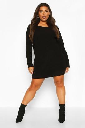 boohoo Plus Slash Neck Knitted Sweater Dress