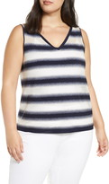 Lafayette 148 New York Sheer Stripe V-Neck Tank