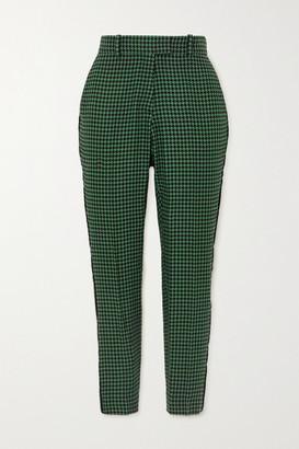 Racil Aries Velvet-trimmed Houndstooth Wool-blend Tweed Slim-leg Pants - Green