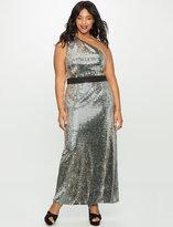 ELOQUII Plus Size One Shoulder Pailette Dress
