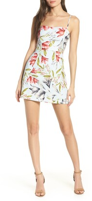 French Connection Whisper Print Sweetheart Minidress